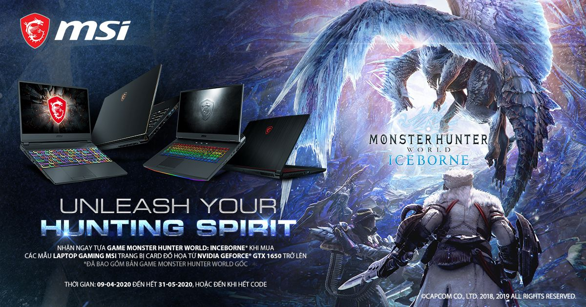 Rinh Laptop MSI – Nhận Code Game MONSTER HUNTER WROLD: ICE BORN