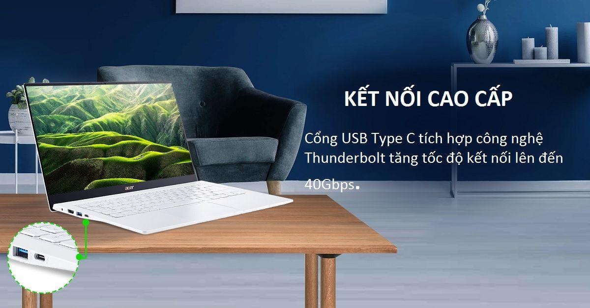 Acer Swift 5 SF514-54T-793C (NX.HLGSV.001) trang bị cổng kết nối hiện đại
