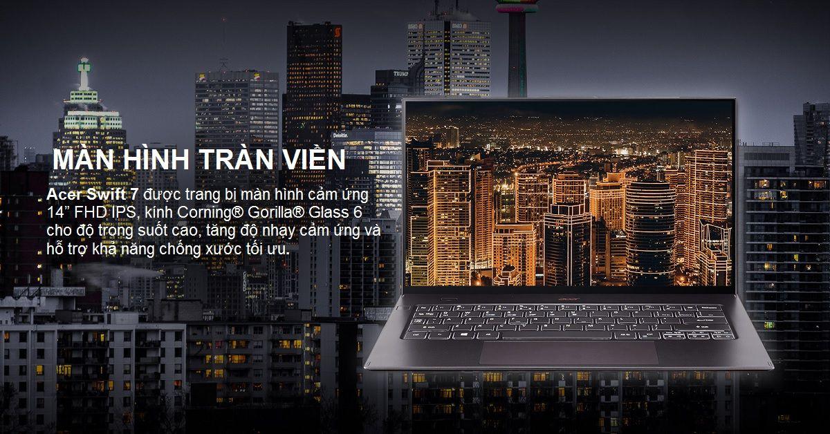 Màn hình cảm ứng tràn viền sắc nét của Acer Swift 7