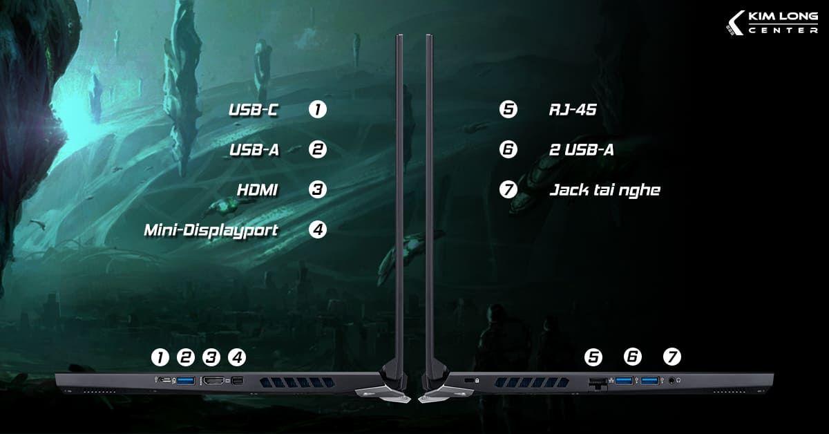 laptop acer predator helios 300 có đầy đủ cổng kết nối