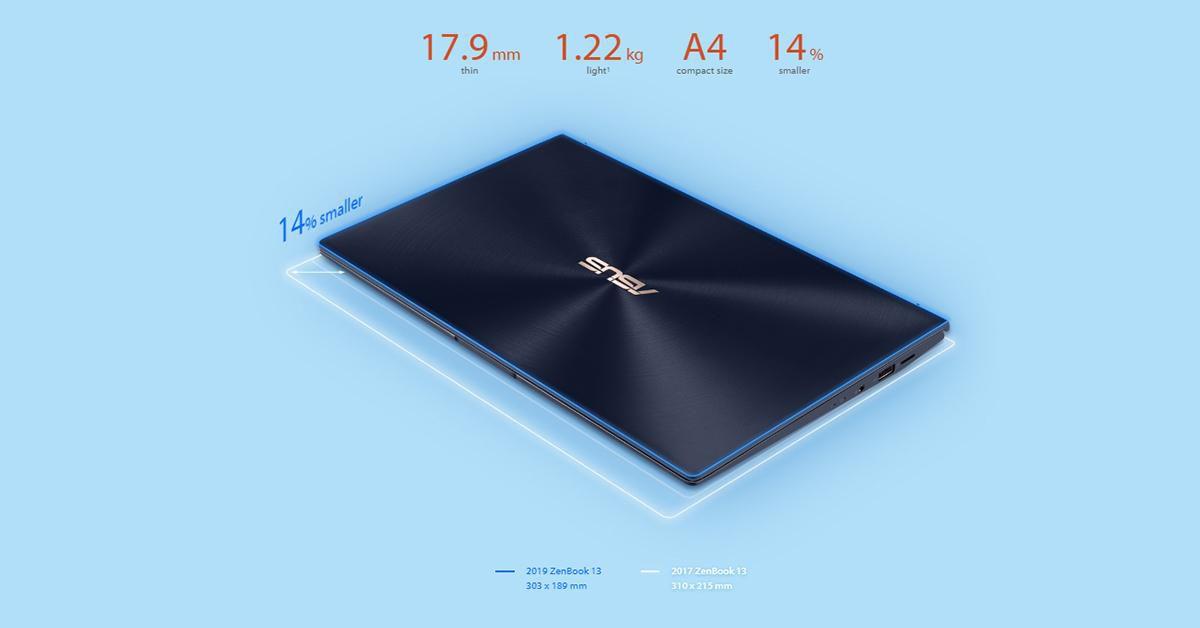 Thiết kế gọn nhẹ hơn tiền nhiệm mang lại điểm cộng lớn cho Zenbook 13 năm 2019