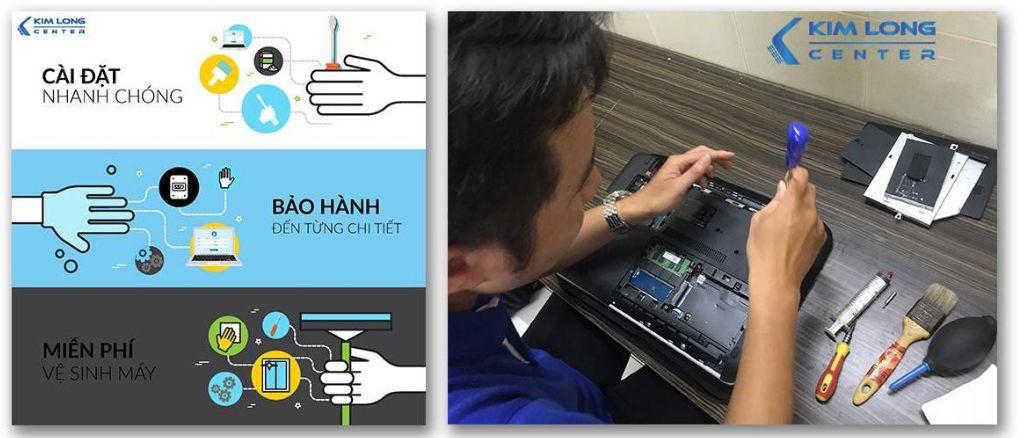Dịch vụ cài đặt - vệ sinh laptop miễn phí tại Kim Long Center