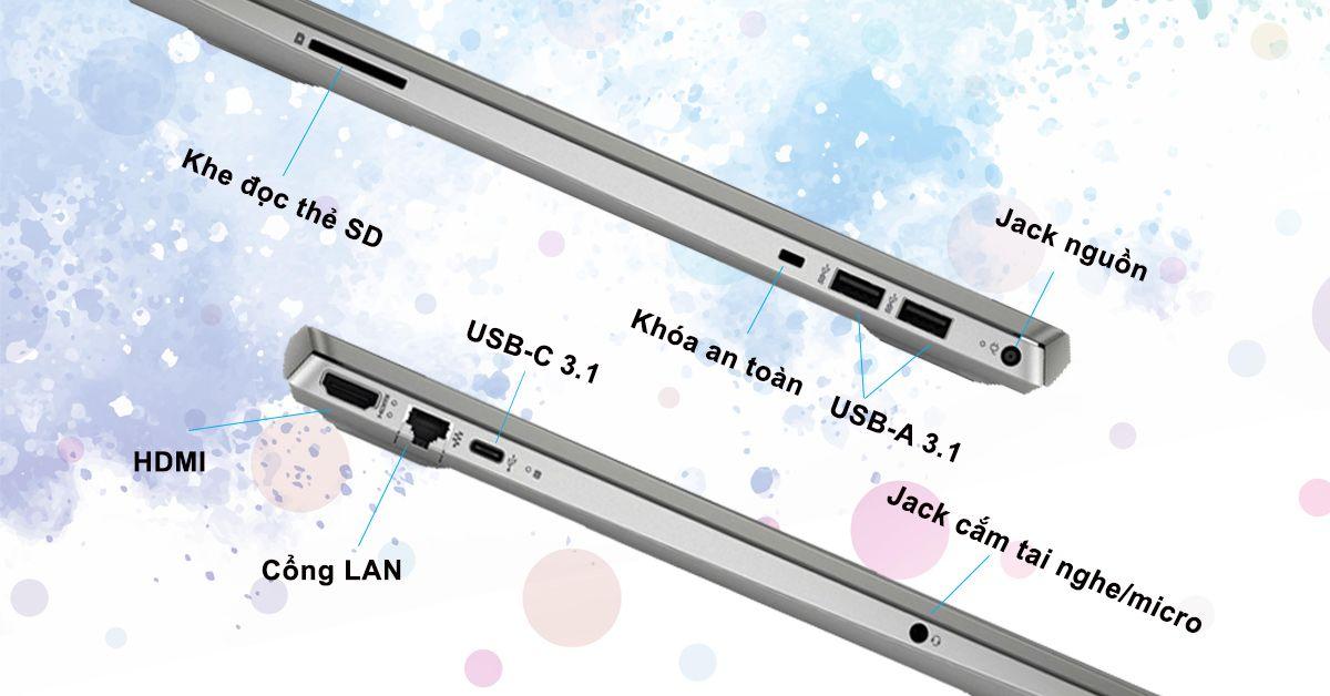 HP Pavilion 15-cs3008TU 8QP02PA có đầy đủ cổng kết nối thông dụng