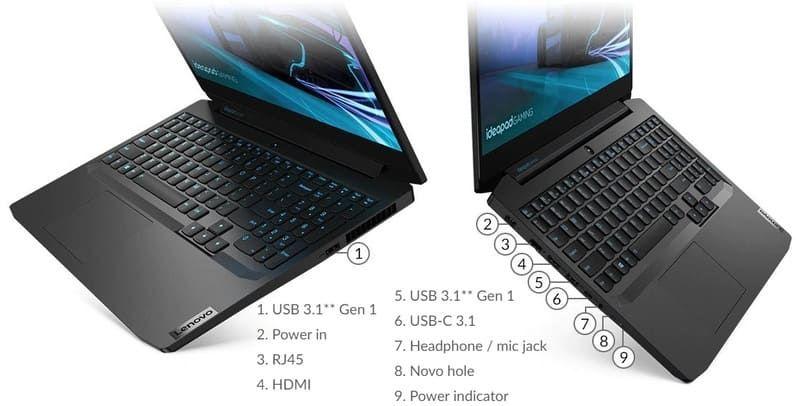 Laptop Lenovo Ideapad Gaming 3 được trang bị đầy đủ các cổng kết nối