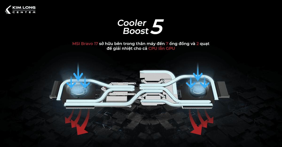 msi bravo 17 sở hữu công nghệ tản nhiệt Cooler Boost 5