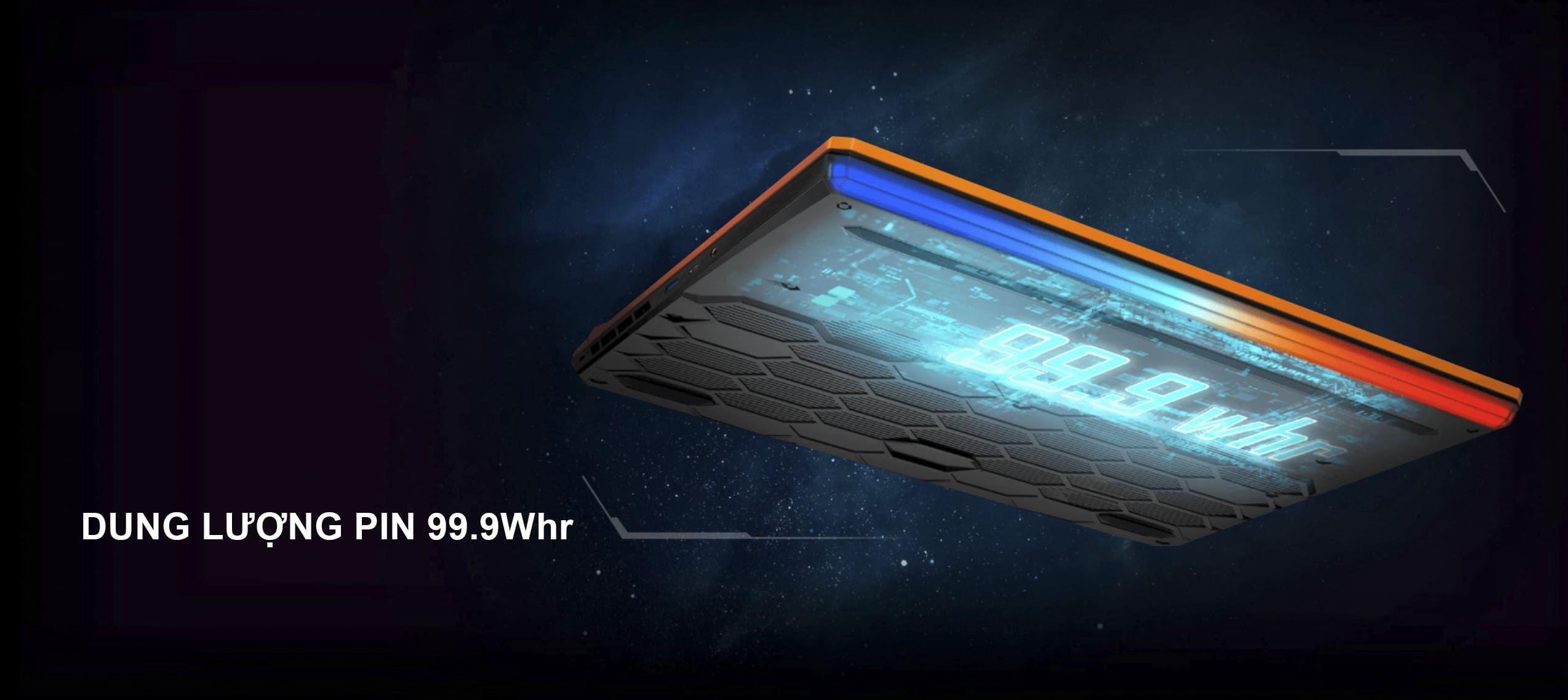 MSI GE66 Raider 10SF-285 có thể hoạt động ở cường độ cao lên đến 5 giờ