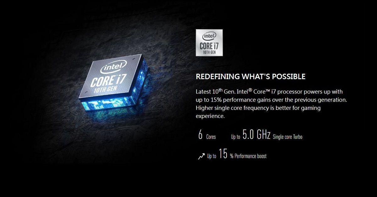 MSI GF75 thin 10SCXR trang bị CPU thế hệ 10