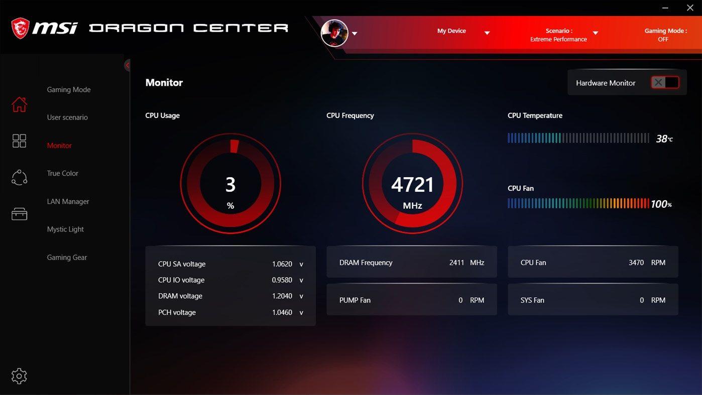 Một trong những giao diện của phần mềm Dragon Center