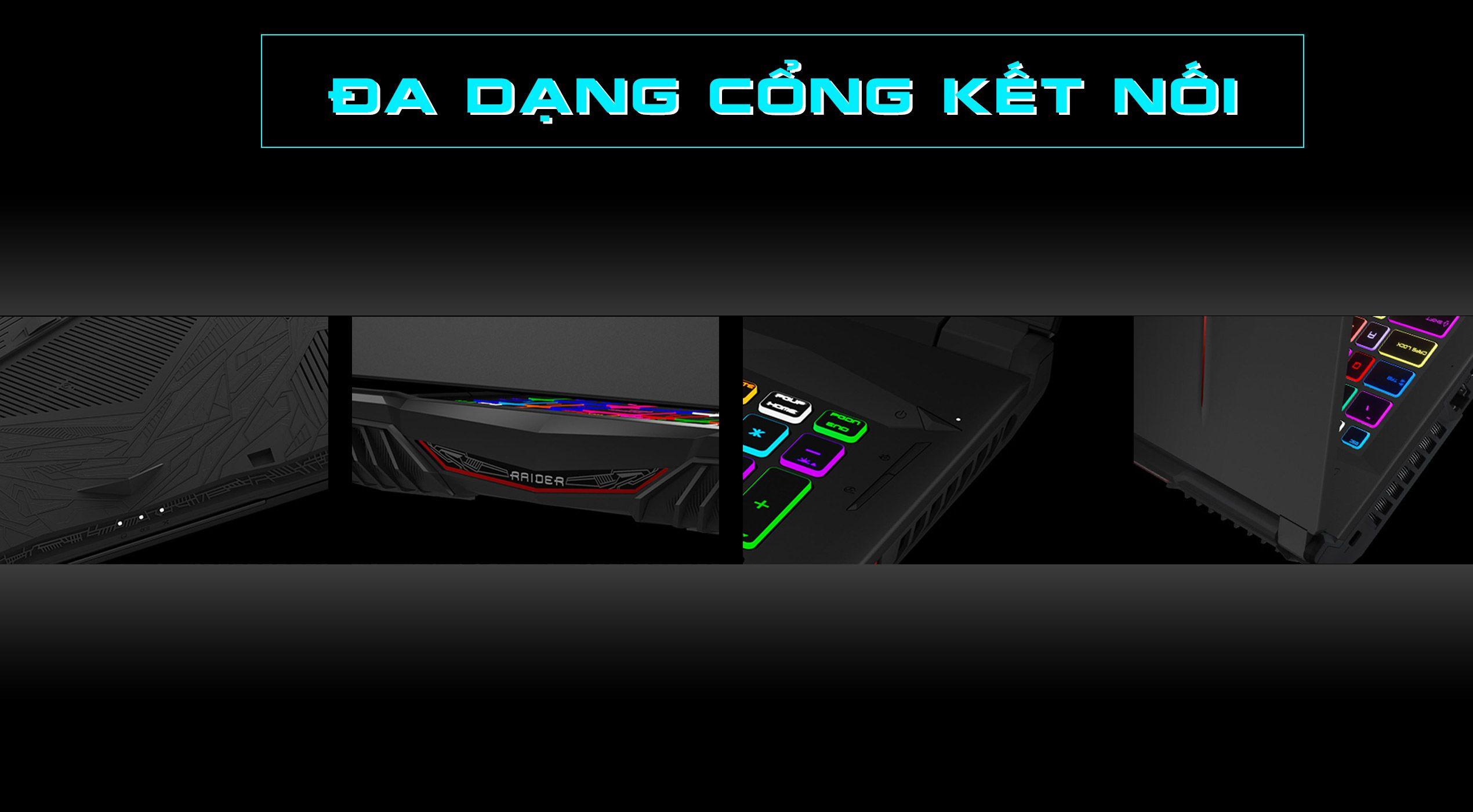 laptop gaming msi ge75 raider 10sfs 0756cn có đa dạng cổng kết nối