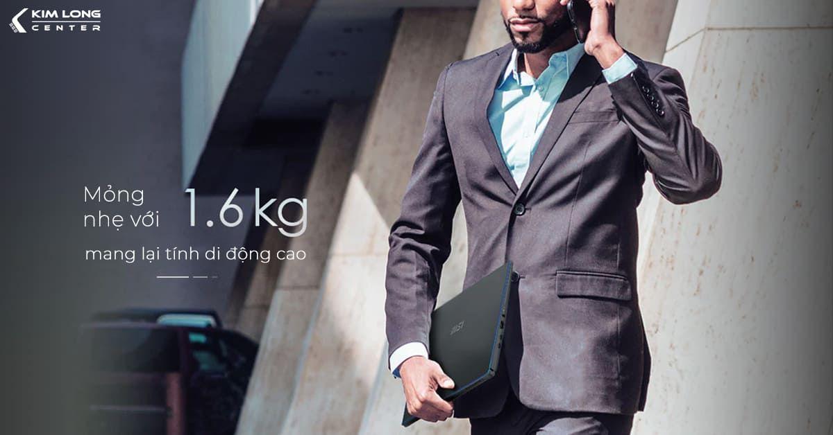 msi prestige 15 mỏng nhẹ với 1.6kg mang lại tính di động cao