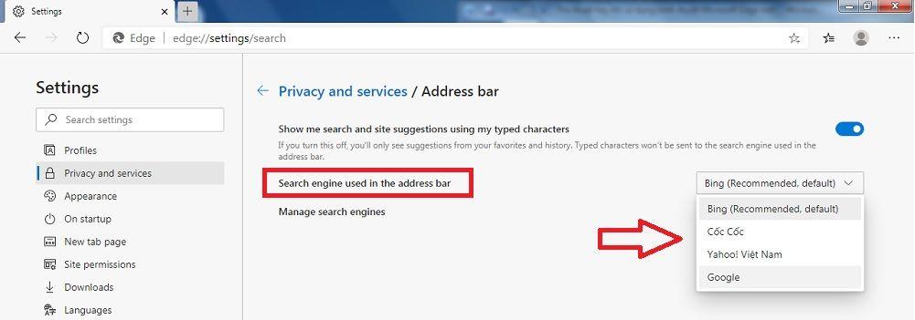 Tùy chọn công cụ tìm kiếm của Microsoft Edge