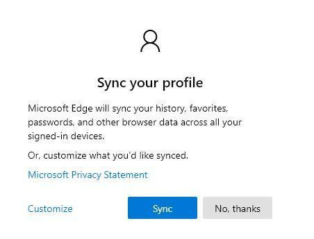 Click Sync để xác nhận đăng nhập