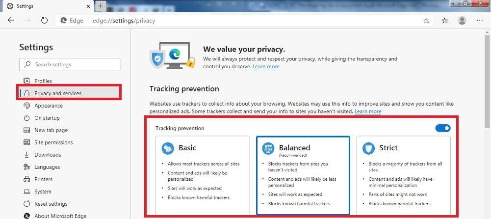 Ngăn website thu thập dữ liệu bằng Tracking prevention