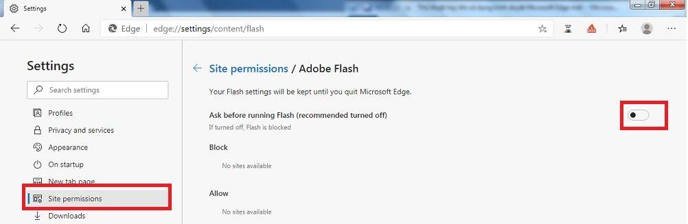 thủ thuạt Microsoft Edge bạn nên biết là tắt flash