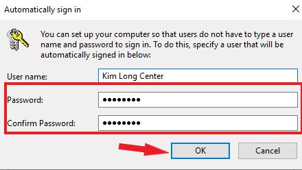 Nhập mật khẩu để hệ thống sử dụng mật khẩu đó tự đăng nhập