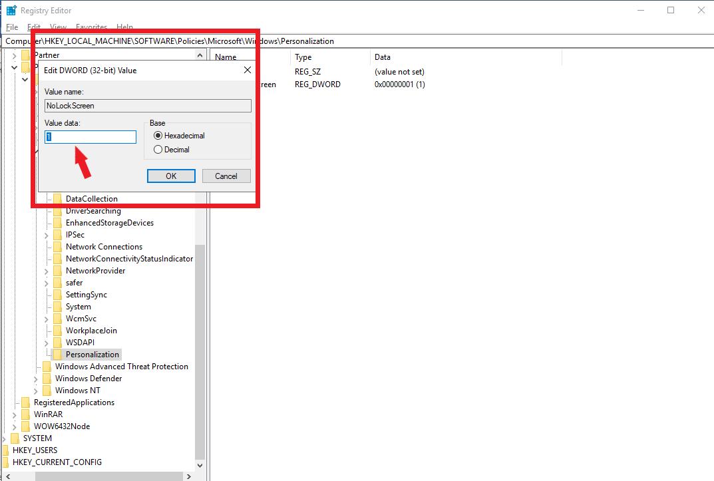 Thiết lập giá trị là 1 để bỏ qua màn hình đăng nhập Windows 10