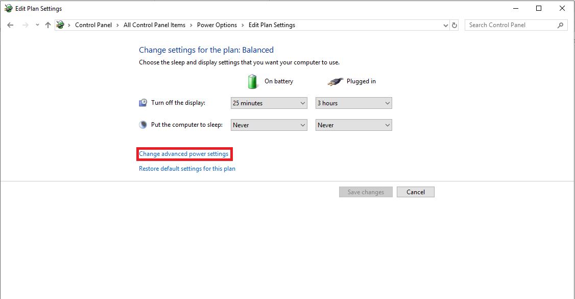 clickvào Change advanced power settings để chỉnh báo pin yếu cho laptop