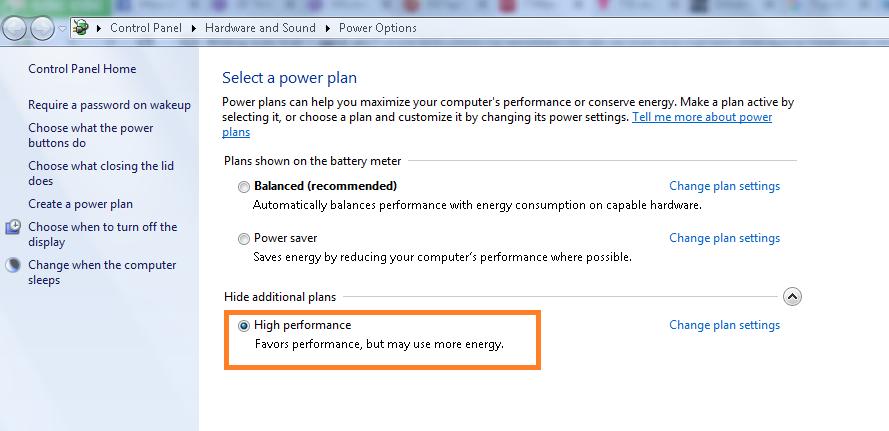 Tùy chọn thiết lập nguồn điện