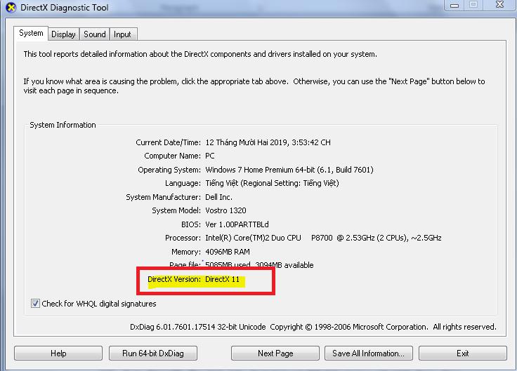 Kiểm tra phiên bản DirectX