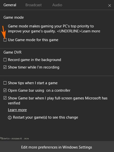 Kích hoạt Game Mode