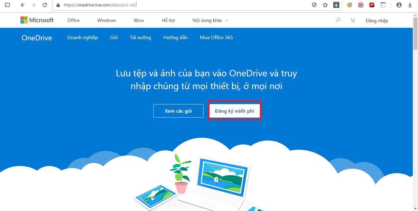 Truy cập vào OneDrive.com