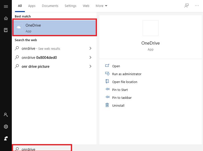 Tìm OneDrive trên thanh tìm kiếm