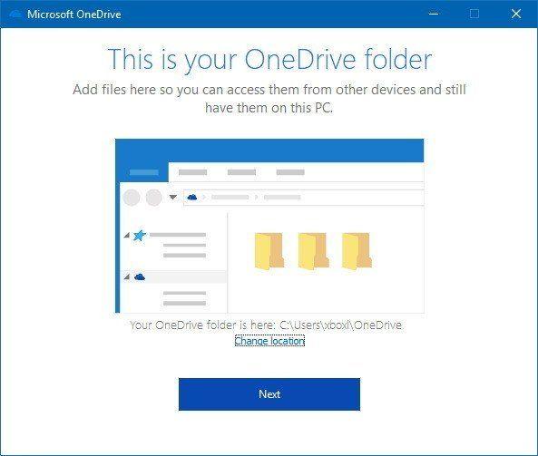 Thay đổi đường dẫn đến OneDrive hoặc nhấn Next nếu không cần đổi