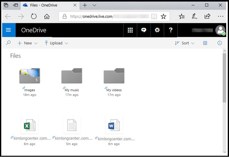 Truy cập web để xem online dữ liệu trên OneDrive