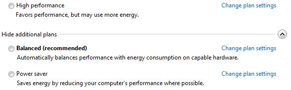Các chế độ Power Option