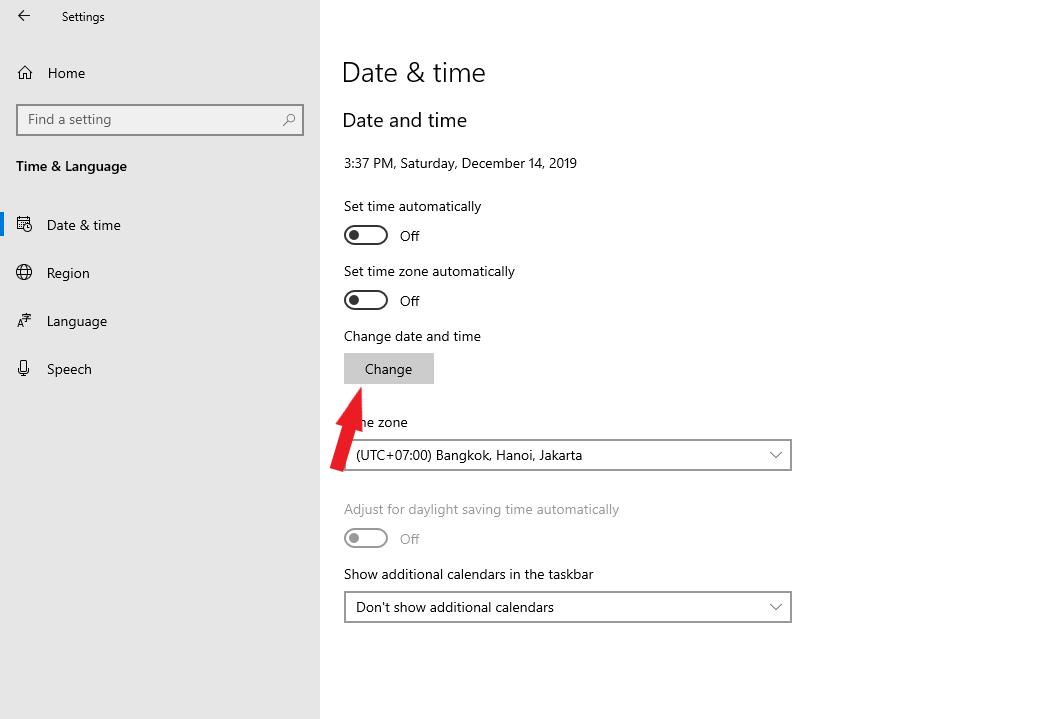 Click Change để thay đổi thời gian