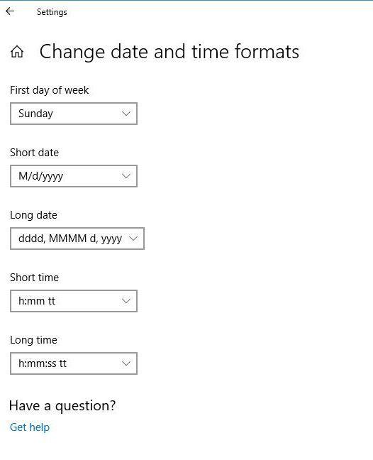 Chọn định dạng hiển thị ngày giờ mà bạn muốn