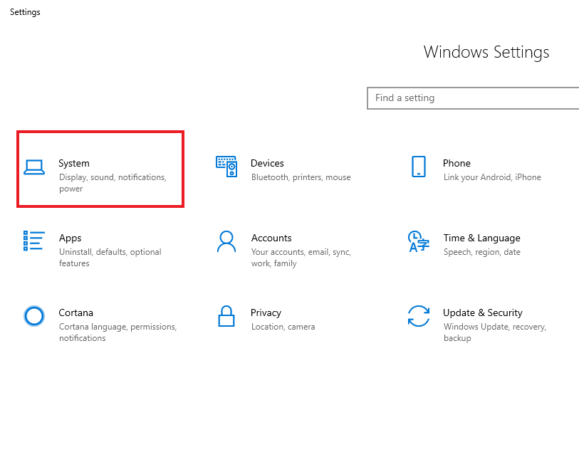 Trong cửa sổ Windows Settings, chọn System