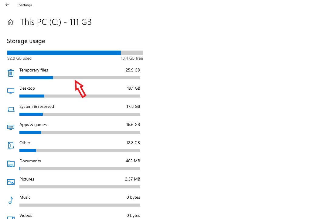 Click mục Temporary files để xóa file rác
