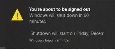 Thông báo đã thiết lập tự tắt máy sau 1h