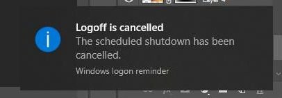 Thông báo hủy tự tắt máy tính