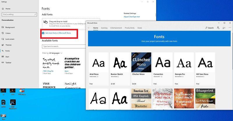Click chọn tải phông chữ Windows 10 từ Microsoft Store