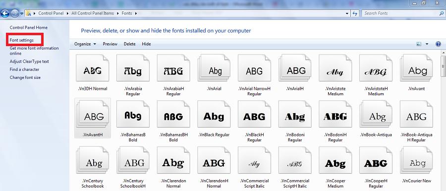 Chọn Font settings để reset lại phông chữ trong windows 10