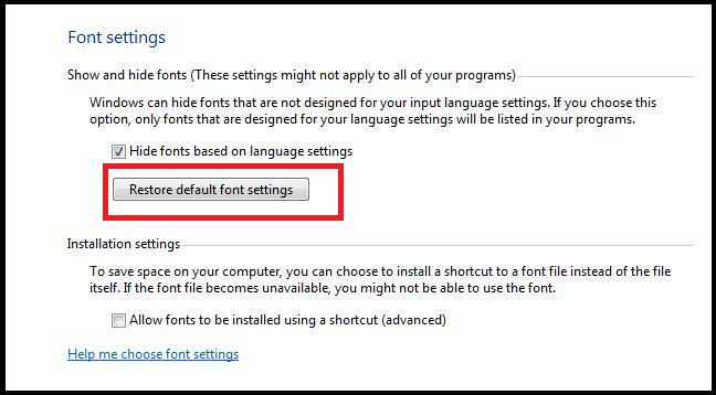 Click vào Restore default font settings