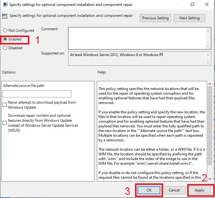 Chọn Enbale để sửa lỗi cài net frameword 3.5