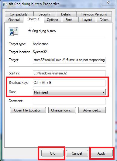 Chọn tổ hợp phím để tắt ứng dụng khi bị treo