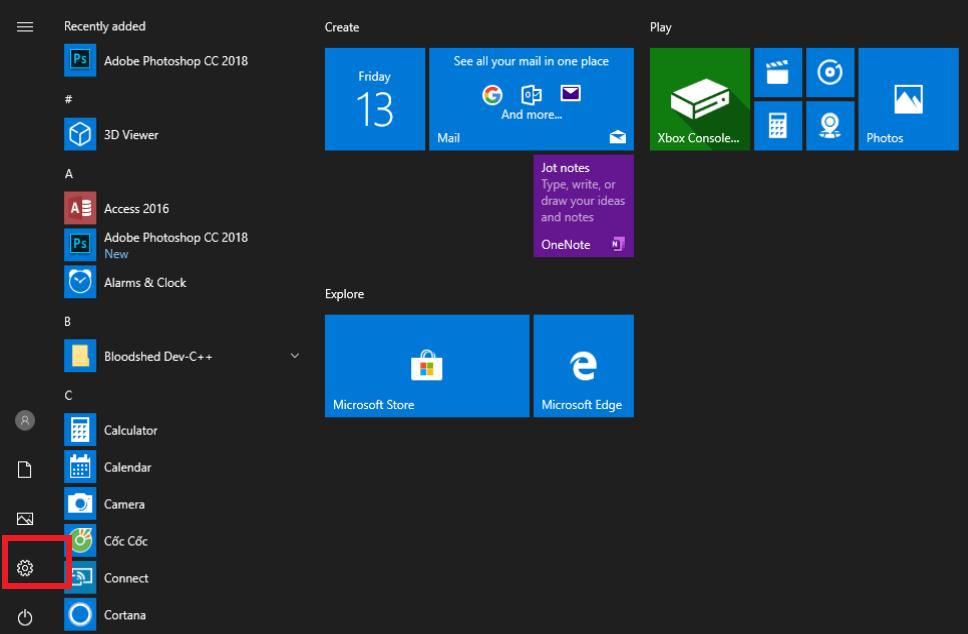 Chọn Settings từ Start menu