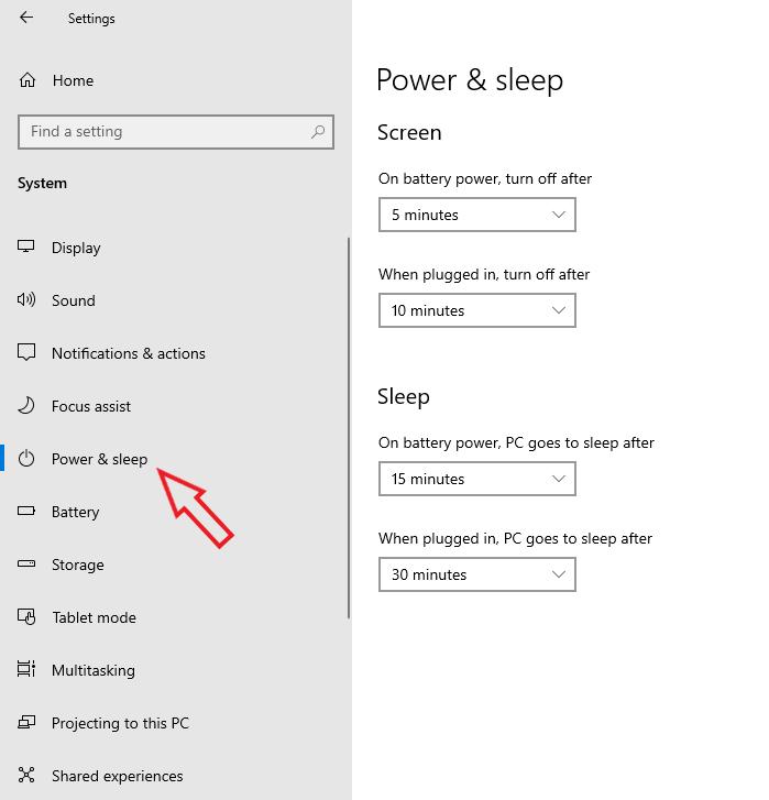 Chọn Power & Sleep