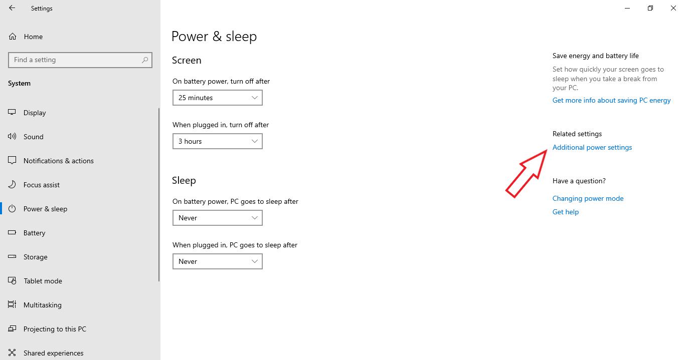 Chọn Additional Power Settings để bên phải màn hình