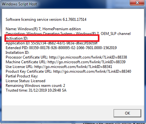 Thông tin về Windows