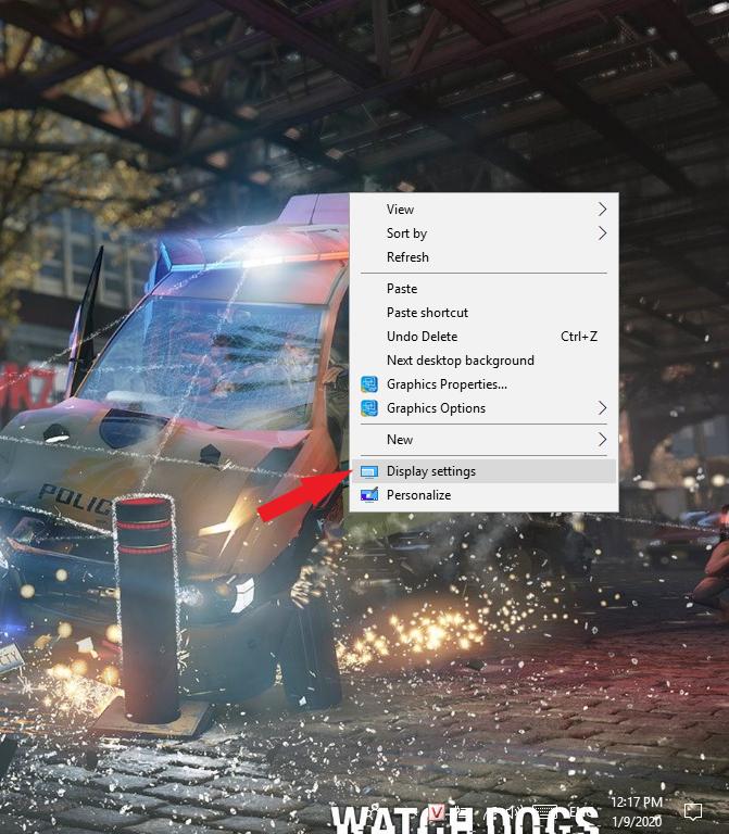 Chọn Display Settings để chỉnh độ phân giải màn hình laptop win 10