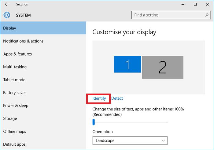 Click Identify để phân biệt 2 màn hình