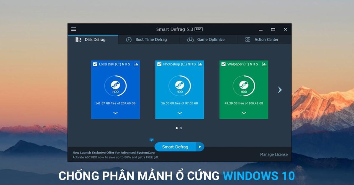chống phân mảnh ổ cúng windows 10
