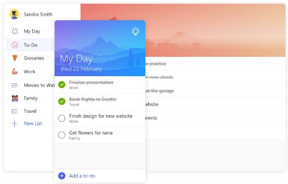 Microsoft To Do hỗ trợ tốt cho việc sắp xếp lịch trình