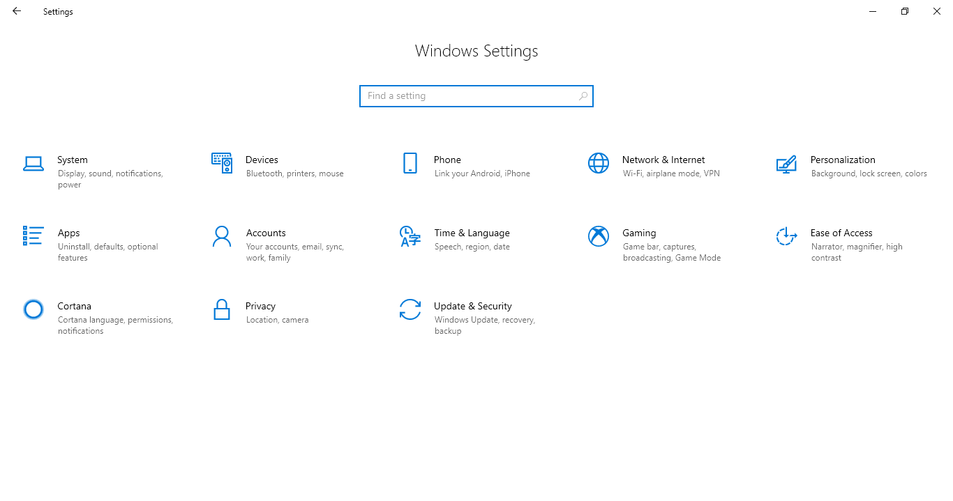 Mở Windows Settings