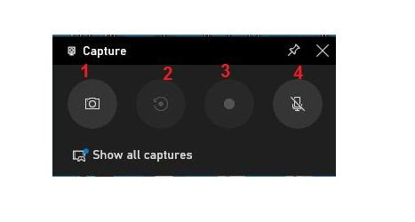 Buttons to support computer screen recording win 10